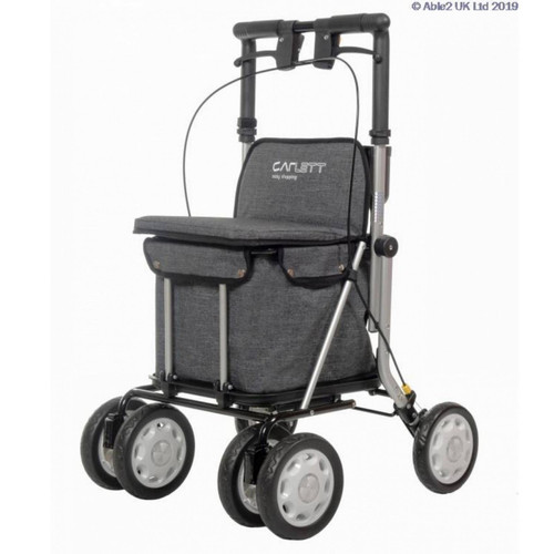 Carlett Care Easy Shopping Rollator / Shopping Trolley Grey Height Adjustable Folding Shopper With Seat And Brakes