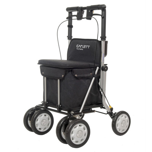 LETT900 Able2 Carlett Easy Shopping Rollator/Shopping Trolley Sholley Walking Aid with Storage and Seat and Brakes Black Folding