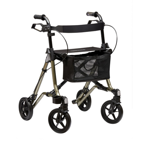 Dietz TAiMA M-GT Medium Folding 4 Wheeled Rollator Walker Walking Frame with Seat Basket Bag Brakes Metallic Green PR30267/MGT Reseda Green