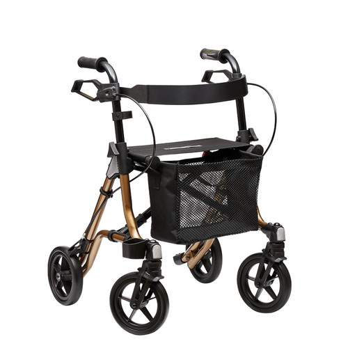 Dietz TAiMA Small Sepia Metallic Bronze Copper Four Wheeled Rollator Walker With Brakes Bag Seat Back Rest