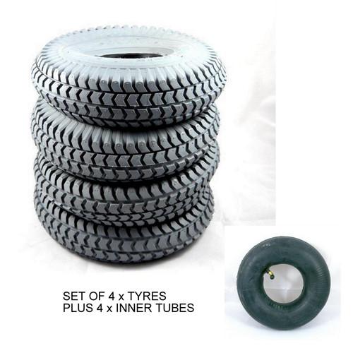 4 x 300x4 3.00-4 260x85 grey block tread pneumatic mobility scooter tyres plus 4 inner tubes innertubes