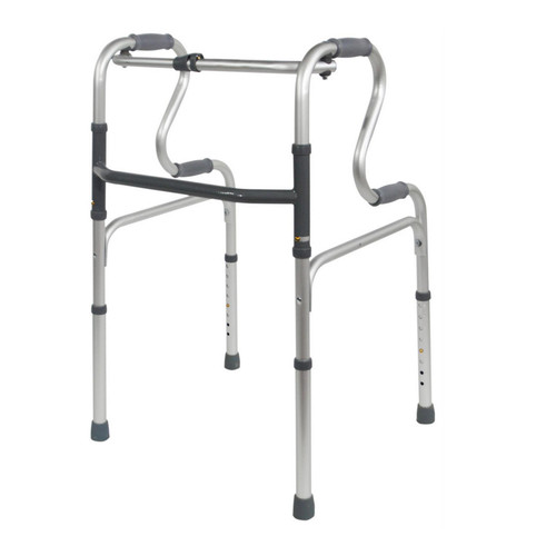 Deluxe Lightweight Height Adjustable Walker Folding Dual Riser Walking Frame by Aidapt