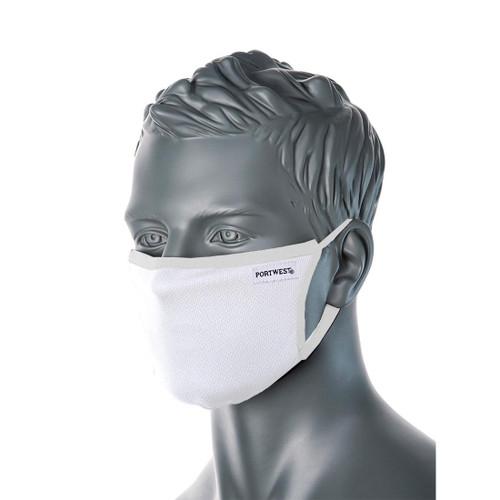 3-Ply White Anti-Microbial Cotton face Mask Per 5