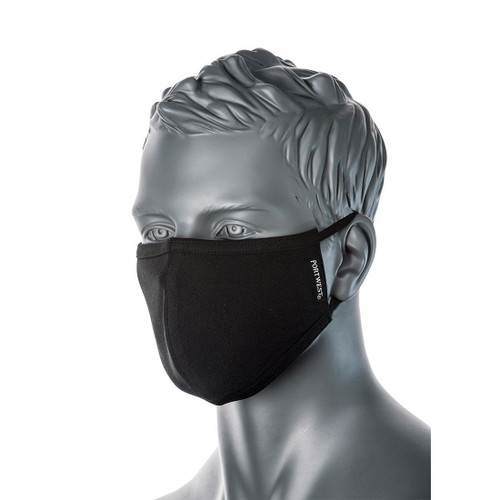 2 ply 100% cotton reusable mask which is breathable and soft for all day comfort.  Adjustable elasticated ear loops for the perfect fit.  Machine washable at 60 degrees.  Folded flat, each mask is packed inside an individual hygienic polybag.  Sold in multiples of 5.