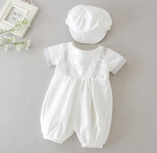 Austin Satin Christening Romper with Coordinating Hat