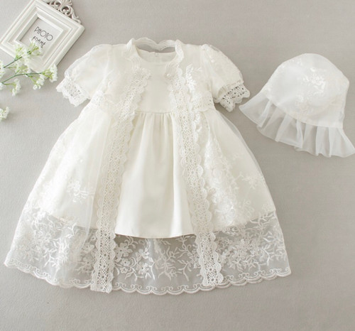 Victoria Baptism Dress & Christening Gown with Bonnet