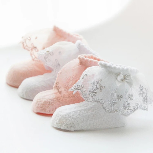 baby pink lace socks