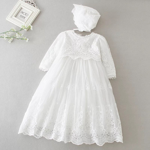 Leigh Long-Sleeve Christening Gown & Baptism Dress with Coordinating Bonnet