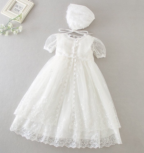 Amelia Sleeveless Christening Gown & Baptism Dress with Coordinating Bonnet & Cover-Up
