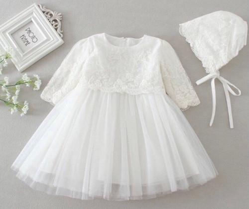 Elizabeth Long-Sleeve Floral Christening Gown & Baptism Dress with Coordinating Bonnet