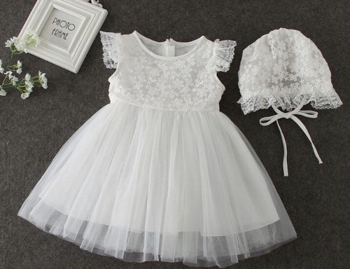 Cap-Sleeve Floral Embroidered Christening Gown & Baptism Dress