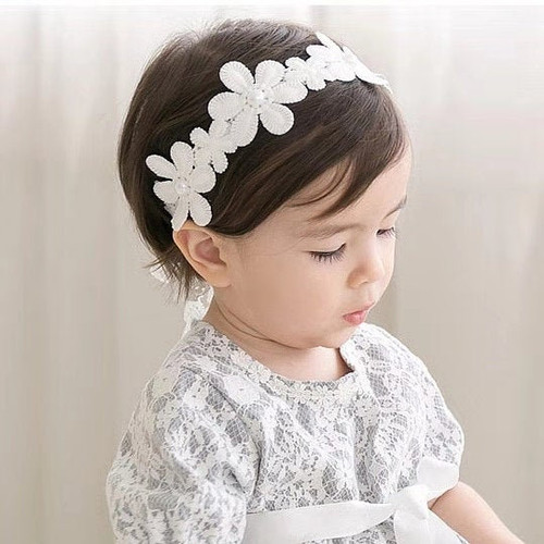 Abigail Floral Headband with Pearl Accents