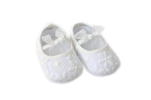 Savannah White Embroidered Christening & Baptism Shoes