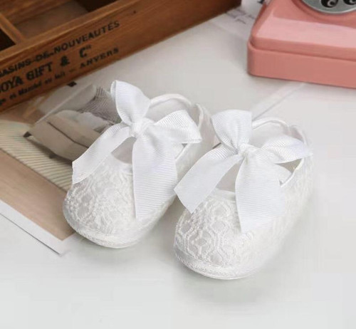Audrey Baby White Bow Christening & Baptism Shoes