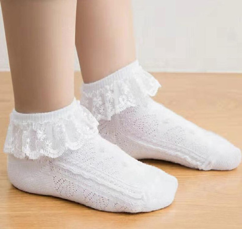 Poppy White Frill Lace Socks