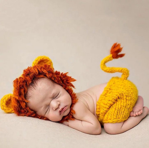 baby crochet lion photography prop