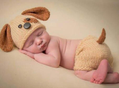 Light Brown Baby Crochet Photography Prop with Bone