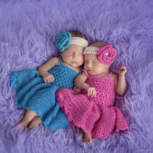 Crochet Baby Girl Dress Twin Photography Props Spring