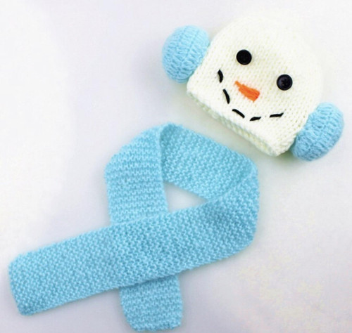 Blue snowman crochet photography prop for baby boys and girls.