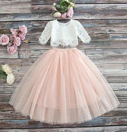 Pink Tulle Flower Girl Dress Bohemian Beach Wedding