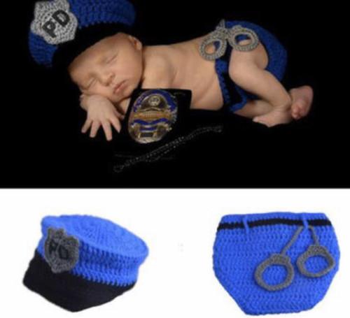 Police Crochet Baby Boy Photography Prop Newborn