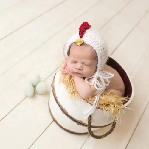Crochet Chicken Hat Baby Photography Prop Barnyard Farm Theme