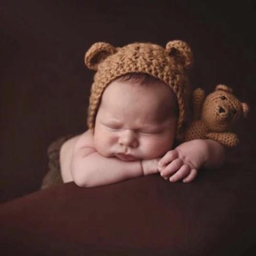 Baby crochet teddy bear photography prop