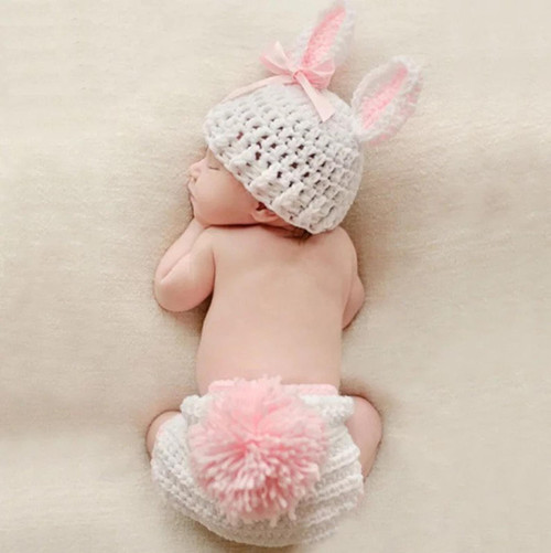 Pink and white bunny photography prop crochet