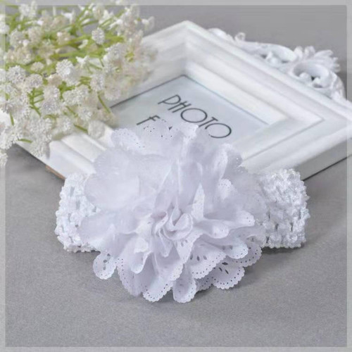 White eyelet baby spring headband baptism christening gown dress