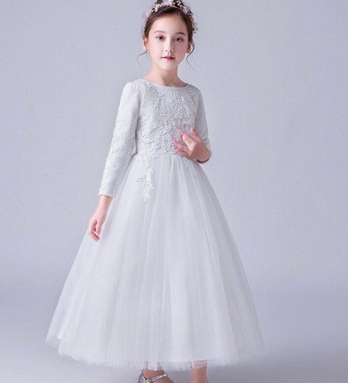 First Communion Gown Long-Sleeve Flower Girl White Embroidery