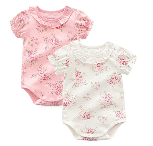 Floral spring baby bodysuits