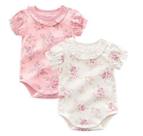 Floral spring baby bodysuits