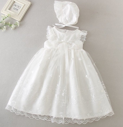 Baptism dress embroidered
