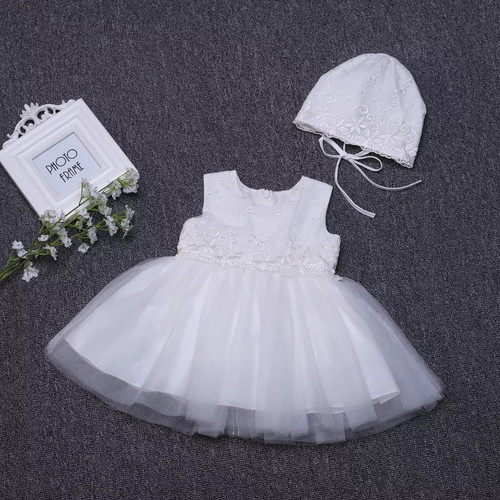 Sleeveless baby baptism dress