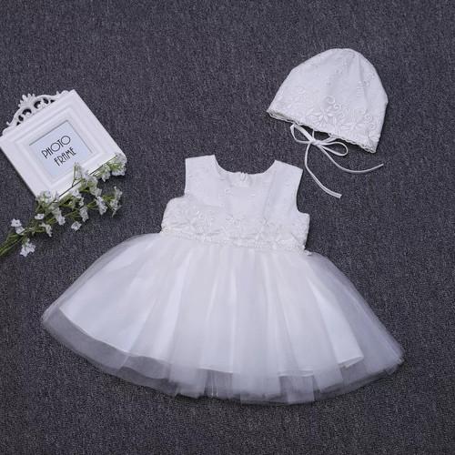 Sleeveless baby baptism dress