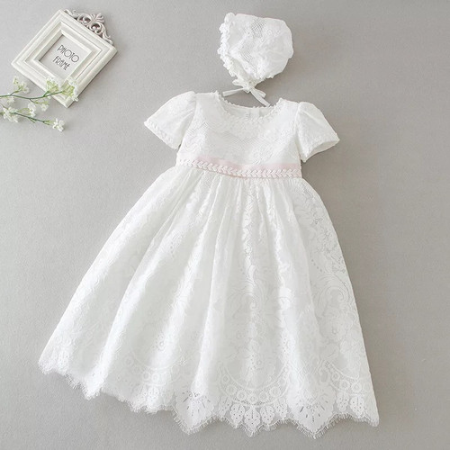 baby short sleeve baptism gown