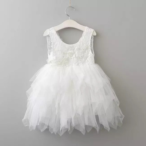 White baby flower girl dress