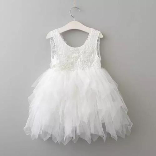 White baby flower girl dress