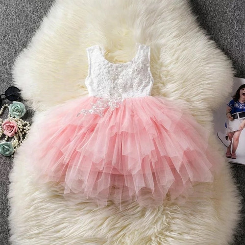 Pink flower girl dress sleeveless