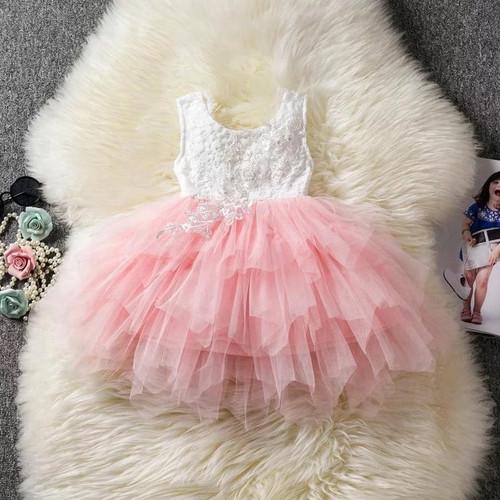Pink flower girl dress sleeveless