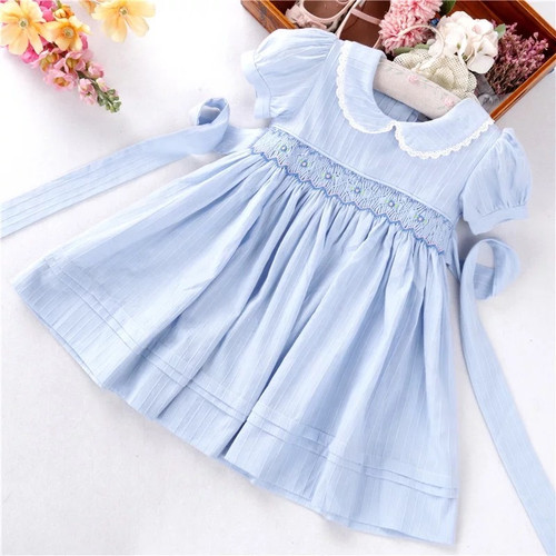 Baby girls blue smocked dress