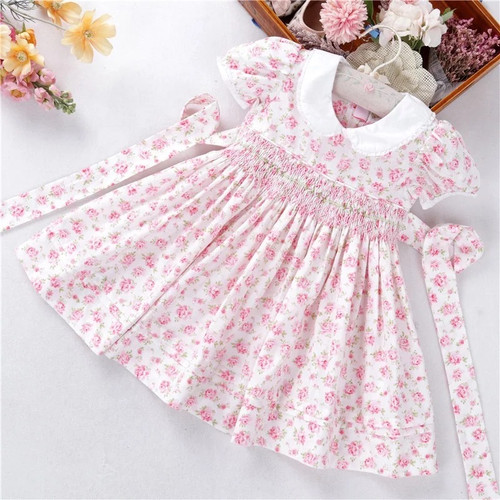 Baby girl's floral smocked dress