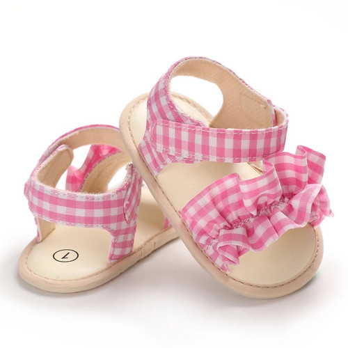 baby pink gingham sandals
