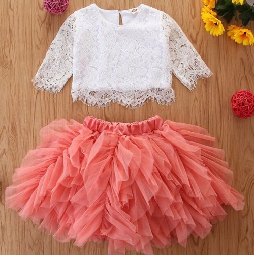 baby coral flower girl dress