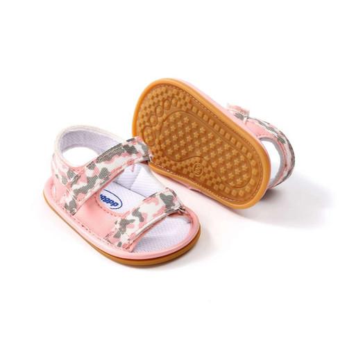 baby pink camo sandals