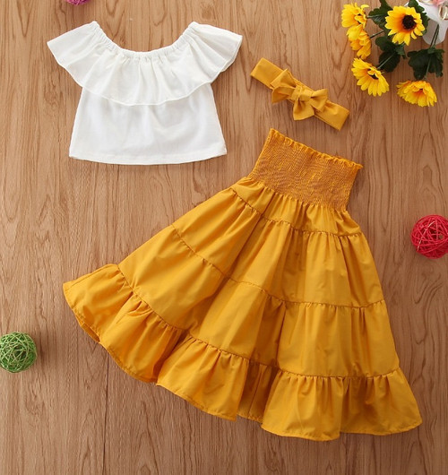 toddler crop and skirt set