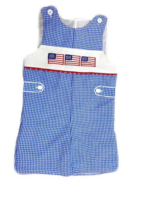 baby boy patriotic romper seersucker