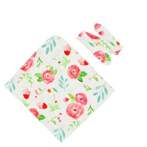 Baby floral wrap with headband