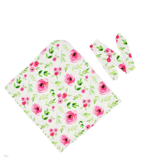 baby floral print swaddle wrap with headband