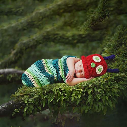 baby crochet caterpillar photography prop